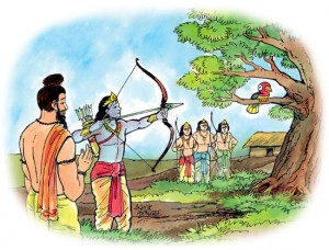 Drona tests his students