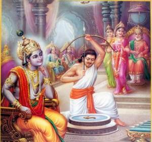 Arjuna attempts to hit the target while Krishna, Draupadi and Drupada watch.