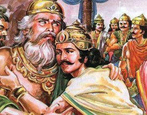 Dhritarashtra and Yudhistira