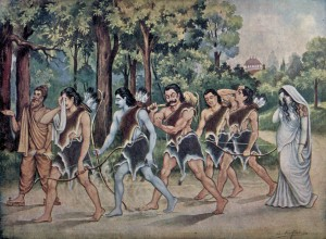 The Pandavas going into exile