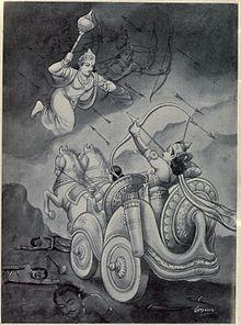 Arjuna battles with Chitra Sena to rescue Duryodhana