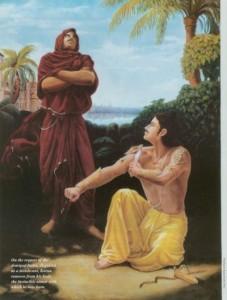 Karna gives Indra his gift.
