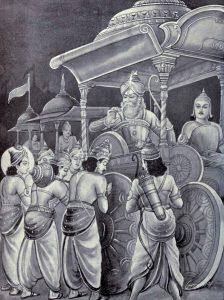 Yudhistir and his brothers seek blessings from Bhisma.